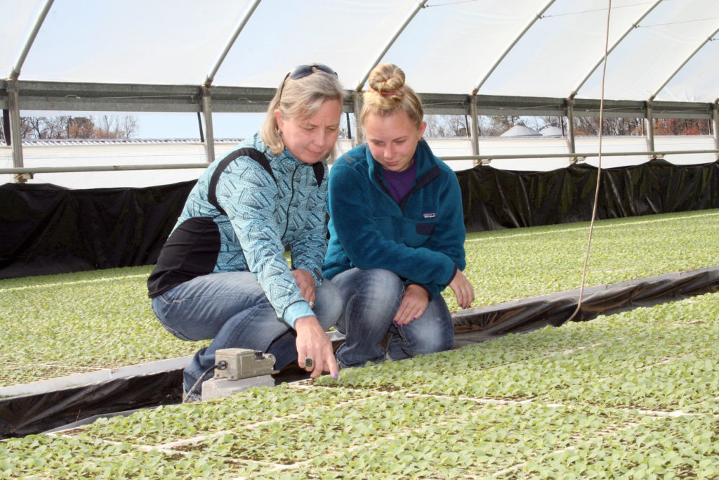 Mary Beth and Anna Jackson examining seedlings in their greenhouse