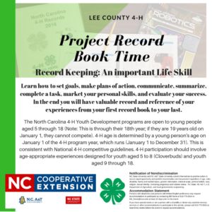 Information to encourage completion of Project Record Books
