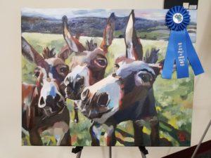painting of 3 donkeys