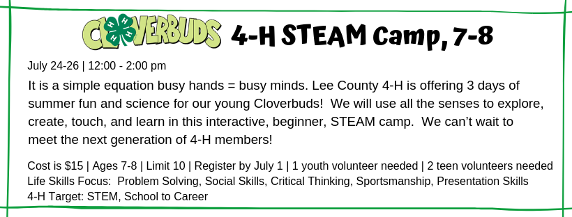 4-H STEAM Camp ages 7-8 flyer image
