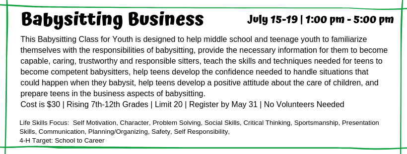 This Babysitting Class for Youth is designed to help middle school and teenage youth to familiarize themselves with the responsibilities of babysitting, provide the necessary information for them to become capable, caring, trustworthy and responsible sitters, teach the skills and techniques needed for teens to become competent babysitters, help teens develop the confidence needed to handle situations that could happen when they babysit, help teens develop a positive attitude about the care of children, and prepare teens in the business aspects of babysitting.