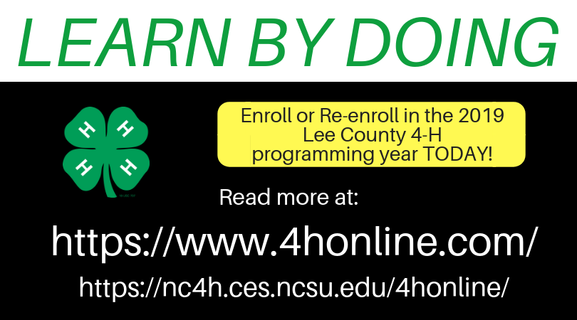 Enroll in Lee County 4-H at 4honline.com