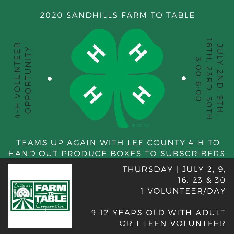 volunteer for sanford farm to table thursdays in july