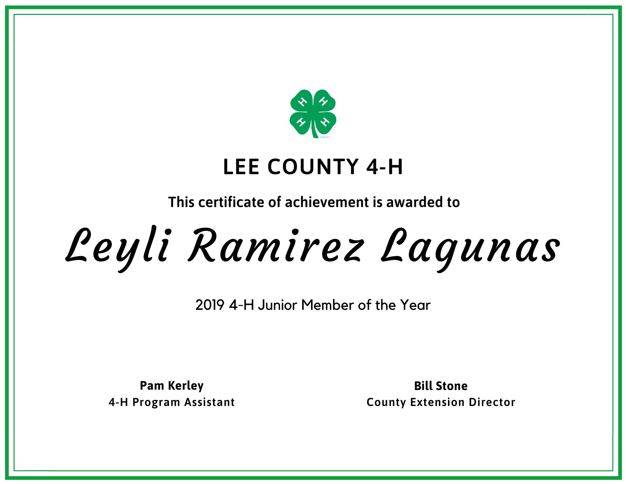 junior member of year leyli