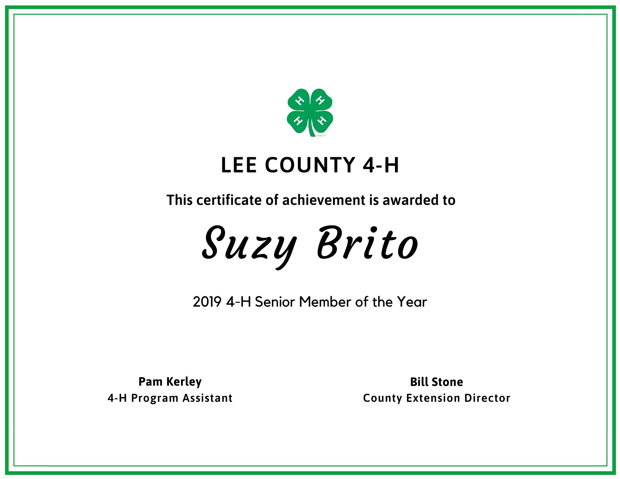 senior member of year suzy
