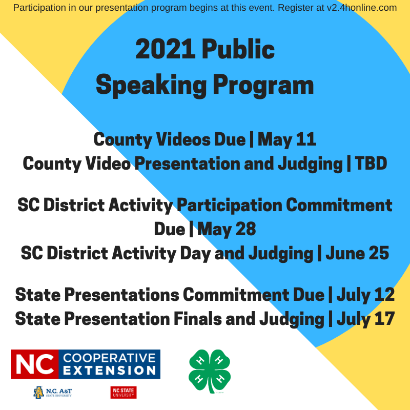 dates for the 2021 public speaking program